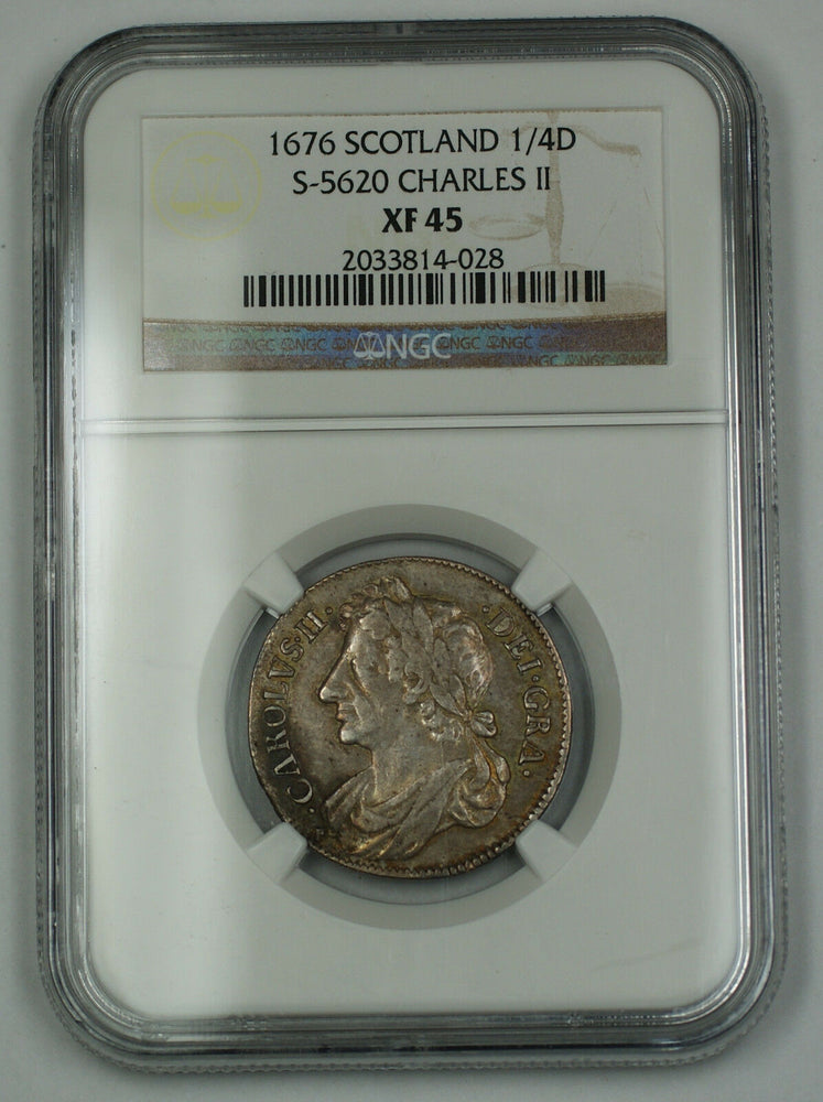 1676 Scotland 1/4 Dollar Silver Coin S-5620 Charles II NGC XF-45 AKR