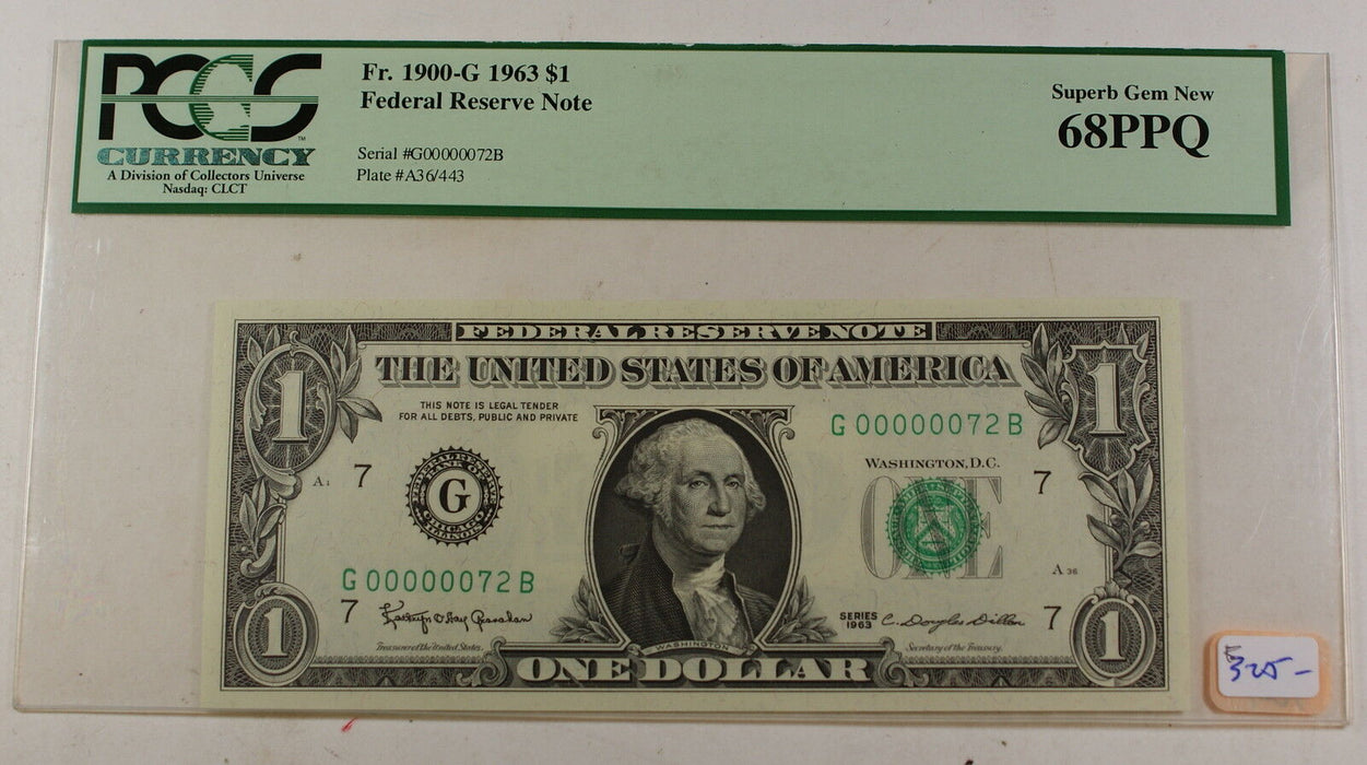 1963 $1 Federal Reserve Note, PCGS 68 PPQ, G00000072B