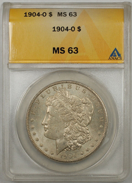 1904-O $1 Morgan Silver Dollar Coin ANACS MS-63 Lightly Toned (Better Coin) (8C)