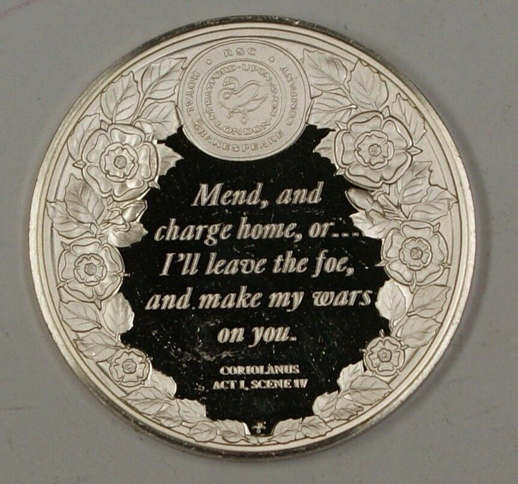 Sterling Silver Medal 0.4 ozt of .925 W/ Quote From the Play Coriolainus on Rev.