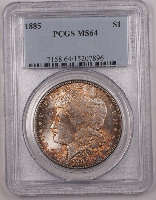 1885 US Morgan Silver Dollar Coin $1 PCGS MS-64 Very Nicely Toned BR4 B