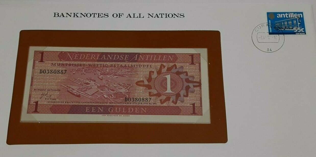 1970 Netherlands Antilles One Gulden Banknote Crisp Unc in Stamped Envelope