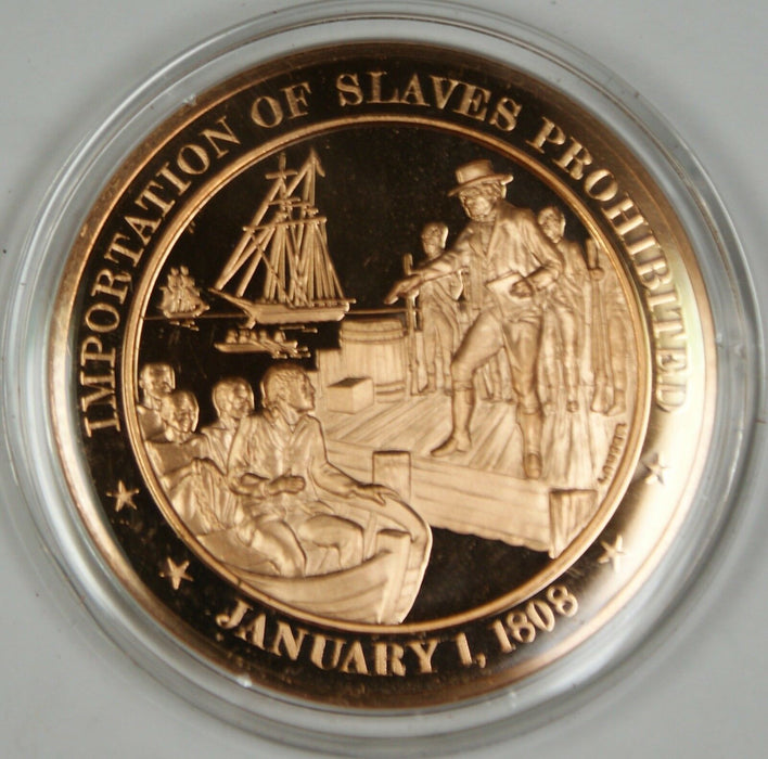 Bronze Proof Medal Importation of Slaves Prohibited January 1 1808