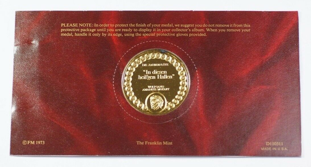 La Scala Operas Most Beautiful Moments Gold-Plated .925 Silver Medal Mozart