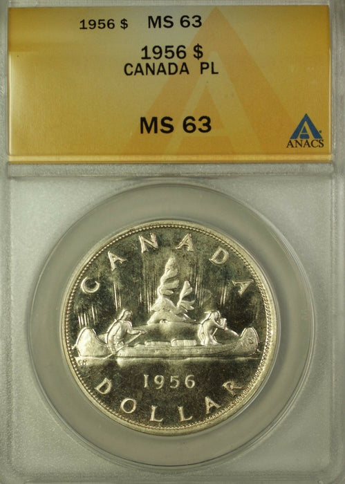 1956 Canada Silver $1 Coin King George VI ANACS MS-63 Proof Like (Better Coin)