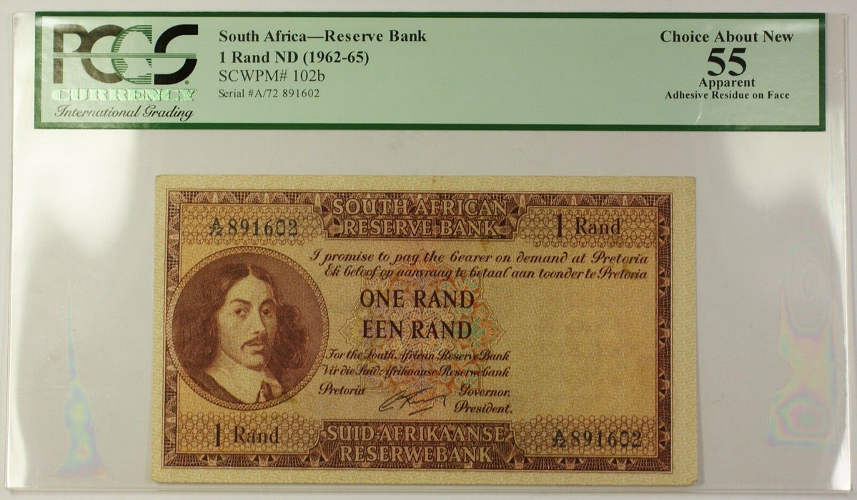 (1962-65) ND South Africa 1 Rand Bank Note SCWPM# 102b PCGS Choice 55 Apparent