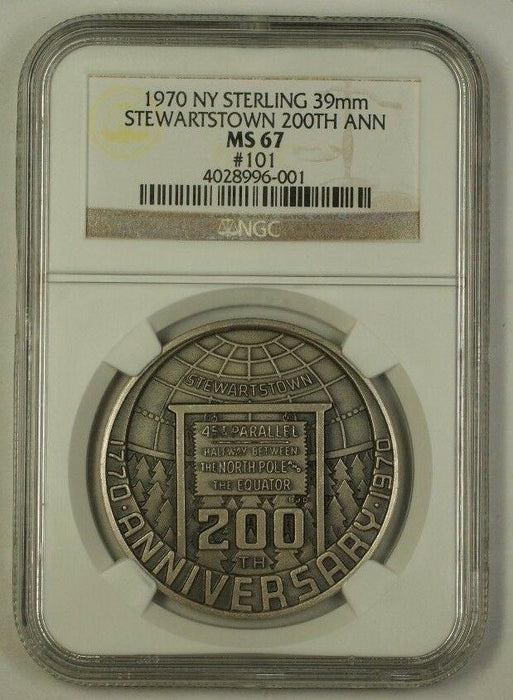 1970 NY Sterling 39mm Silver Medal Stewartstown 200th Anniversary NGC MS-67 #101