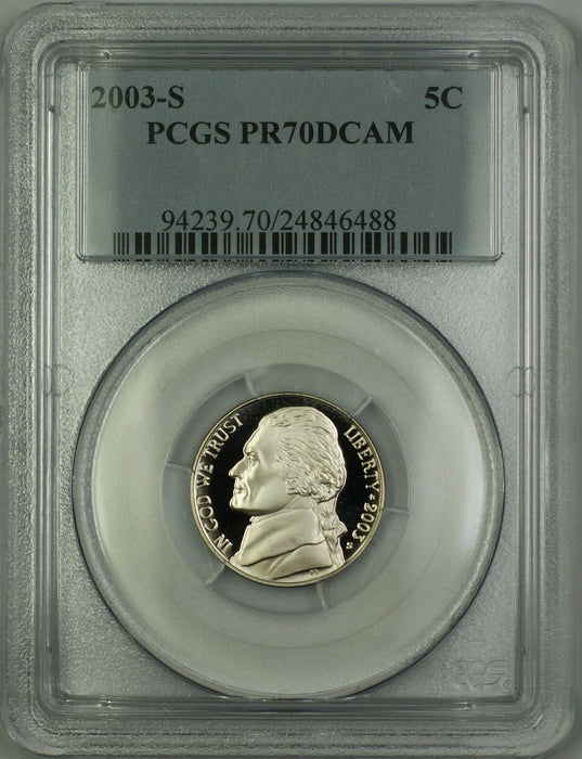 2003-S Proof Jefferson Nickel 5c Coin PCGS PR-70 Deep Cameo *PERFECT GEM*