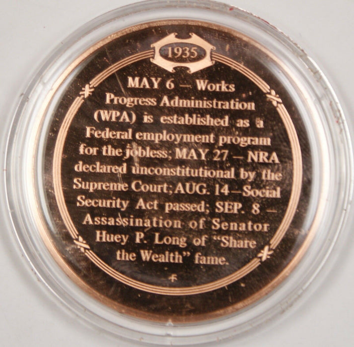 Bronze Proof Medal WPA Aids the Unemployed 1935