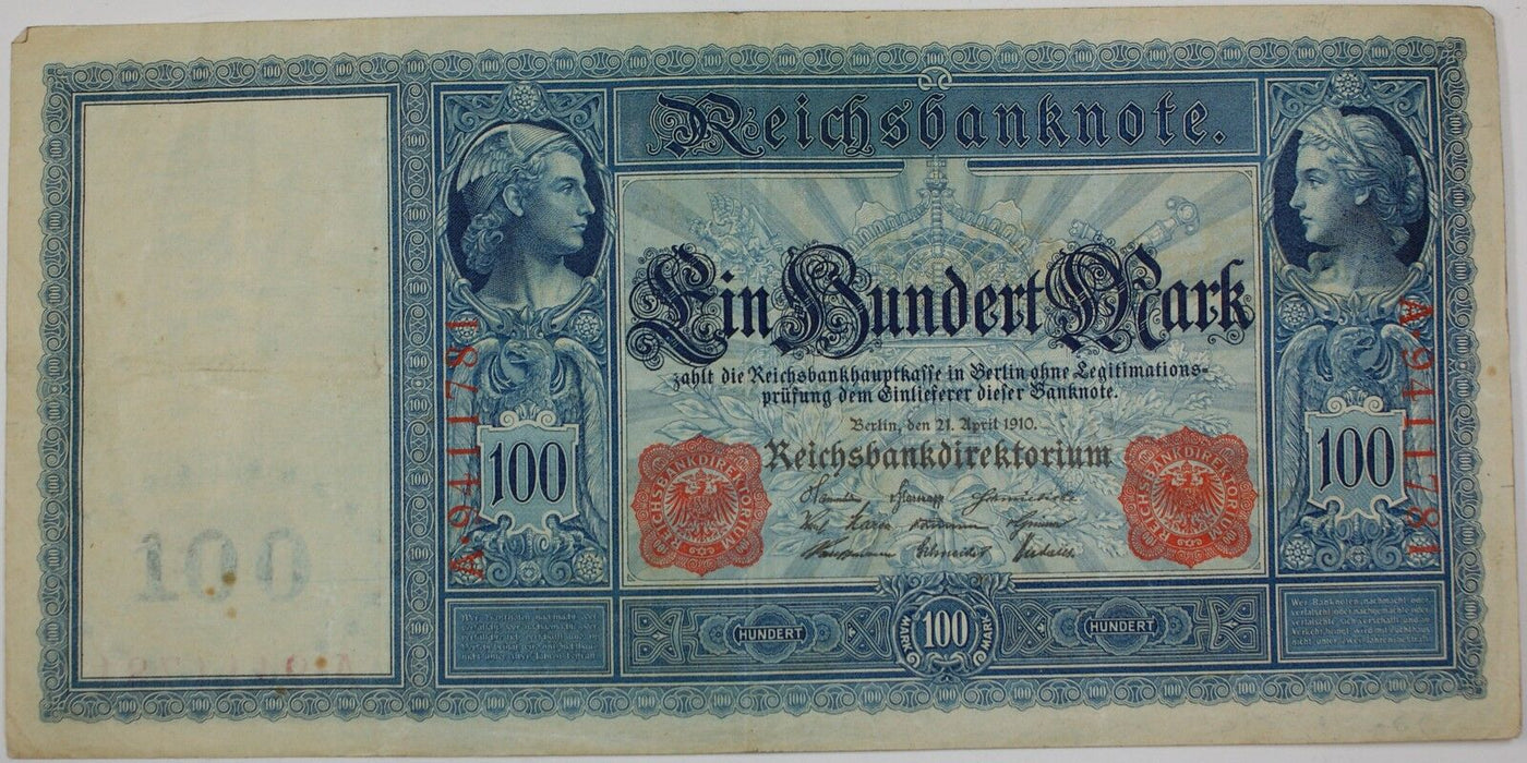 1910 German One Hundred Mark Note, P-42, Extra Fine, Beautiful Design