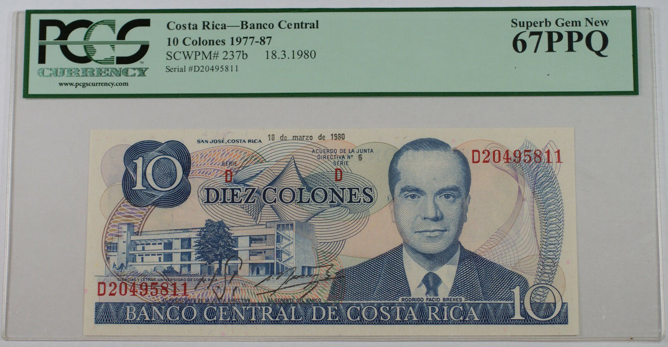 1977-87 Costa Rica 10 Colones Note SCWPM# 237b PCGS PPQ 67 Superb Gem New