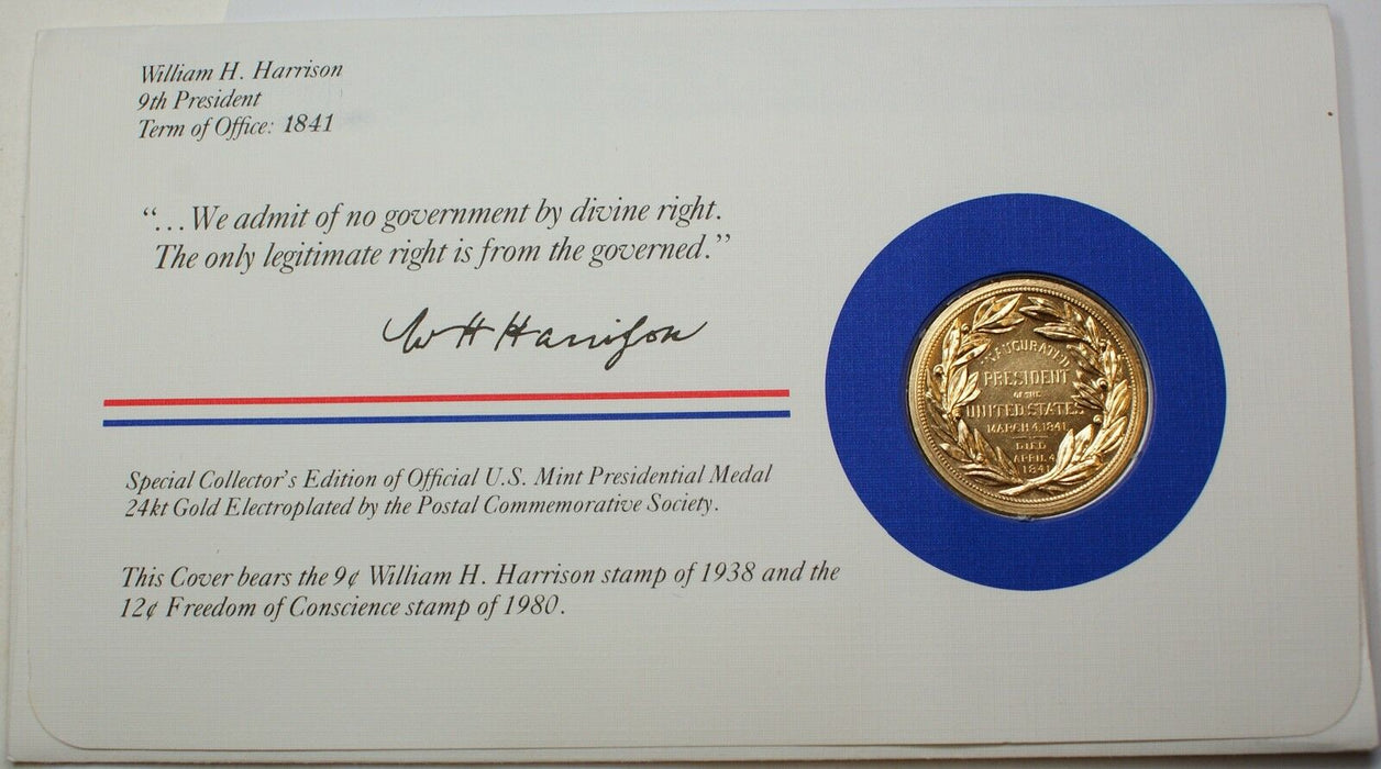 William Henry Harrison Presidential Medal, 24kt Gold Electroplated