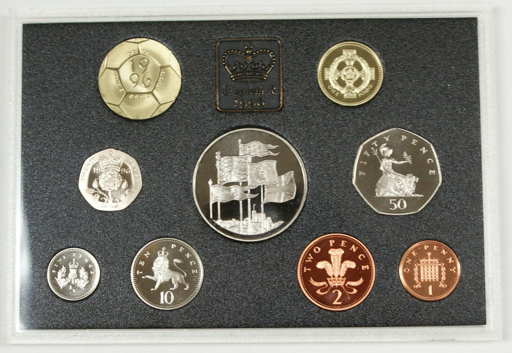 1996 United Kingdom Deluxe Proof Set, GEM Coins, 9 Coins Total, NO Box, W/ COA