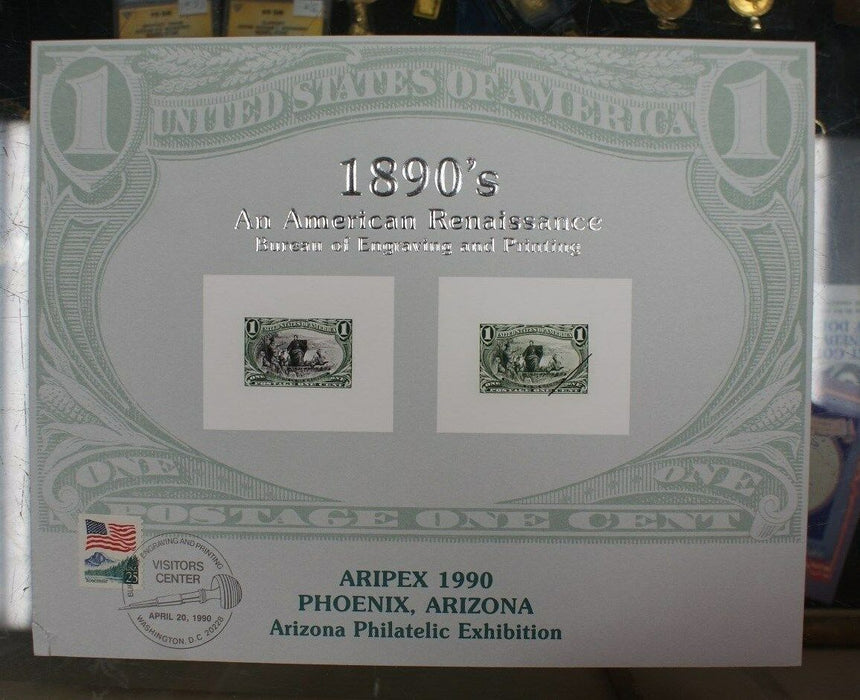 BEP souvenir card B 138 Aripex 1990 1898 1¢ Trans Mississippi Visitors cancelled