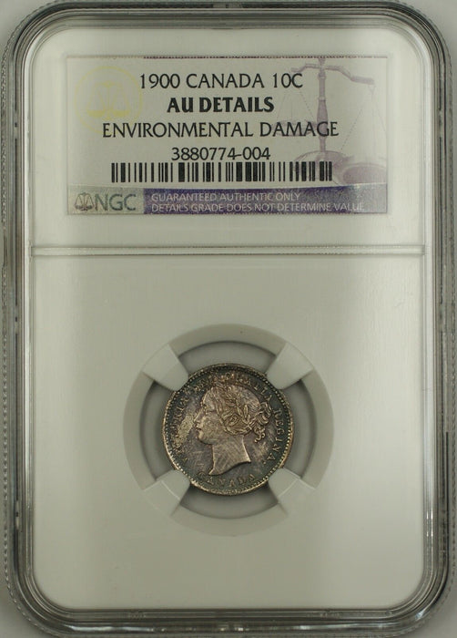 1900 Canada Silver 10c Coin NGC AU Details Environ. Damage (Better Choice BU)
