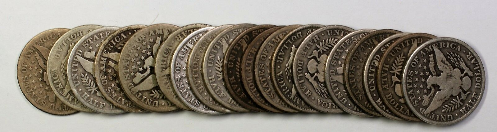 1908 Barber Half Dollar 50c Roll 20 Circulated 90% Old Silver Coins Lot