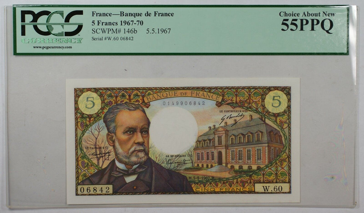 1967-70 5 French Francs Bank of France PCGS Choice About New 55PPQ