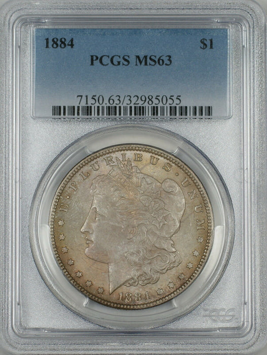 1884 Morgan Silver Dollar $1 Coin PCGS MS-63 Toned (Ta)