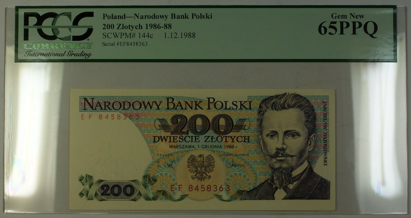 1.12.1988 1986-88 Poland 200 Zlotych Bank Note SCWPM# 144c PCGS Gem New 65 PPQ