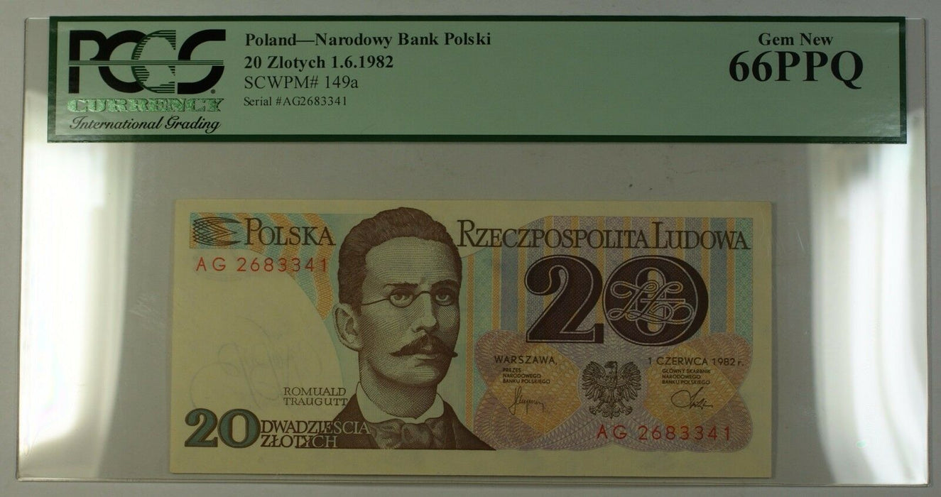 1.6.1982 Poland National Bank 20 Zlotych Note SCWPM# 149a PCGS GEM New 66 PPQ