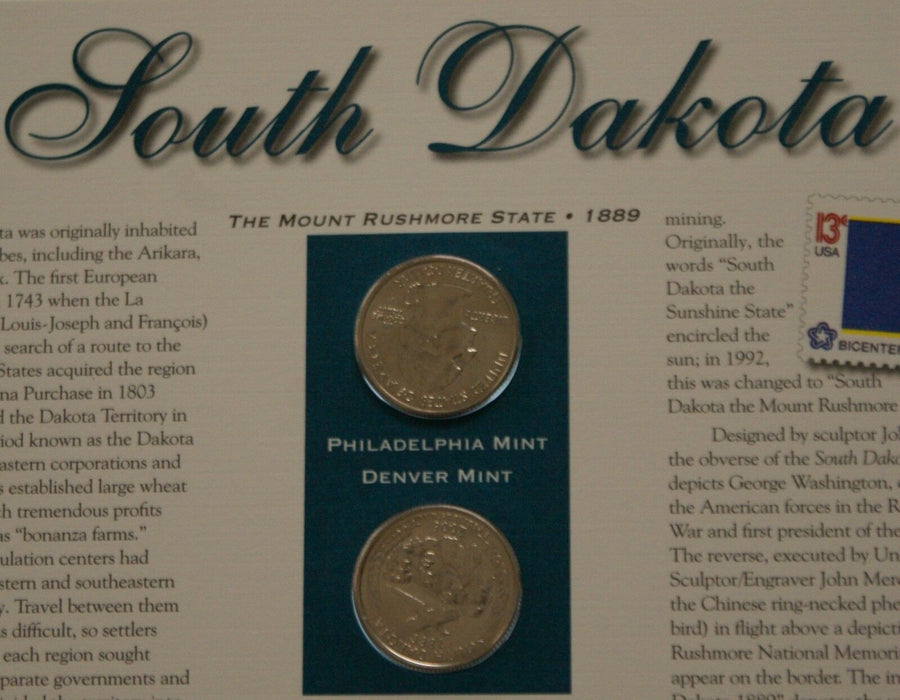 South Dakota 2006 P&D Quarter for Anniversery of Statehood Bonus Stamp
