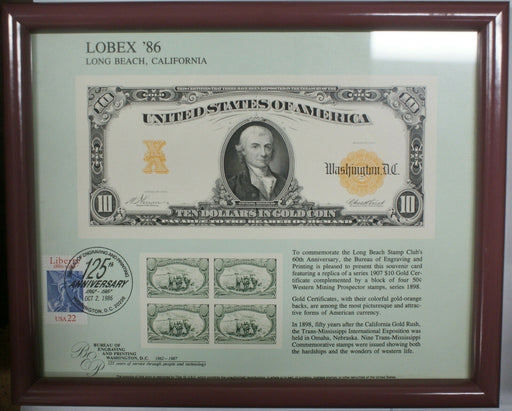 Framed LOBEX Souvenir Card 1986 BEP B 98 Cancelled $10 Gold Certificate