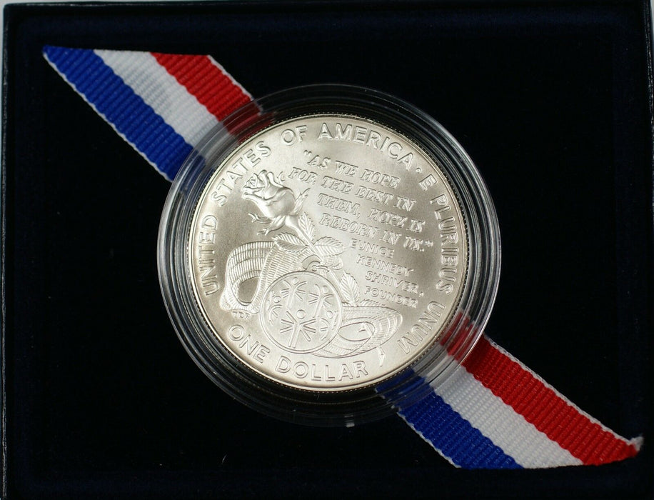 1995 Special Olympics World Games Commem Silver $1 Coin in OGP NO OUTER SLEEVE