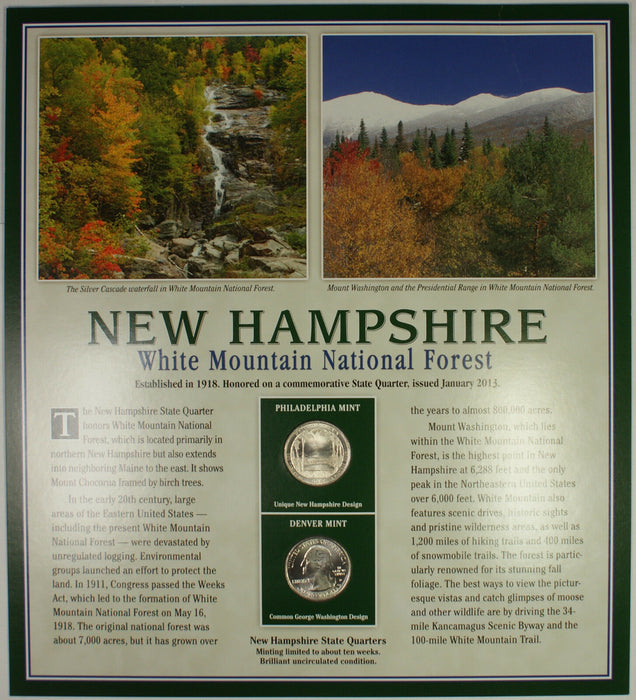 2013 New Hampshire White Mountain Forest Quarter P&D w/ 2 Stamps Display Card