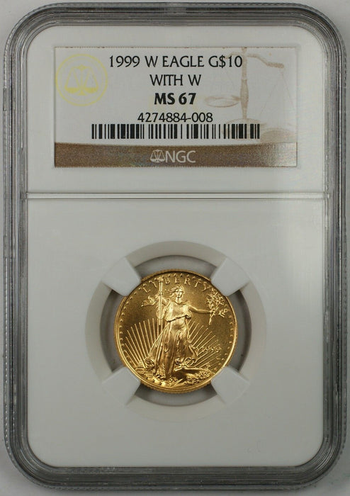 1999-W Emergency Issue $10 Dollar Gold Eagle AGE 1/4 Oz Coin NGC MS-67