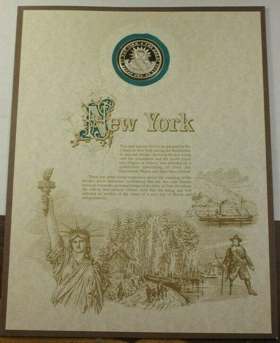 Franklin Mint Collection Silver Seal of the States New York Sterling .925 Pure