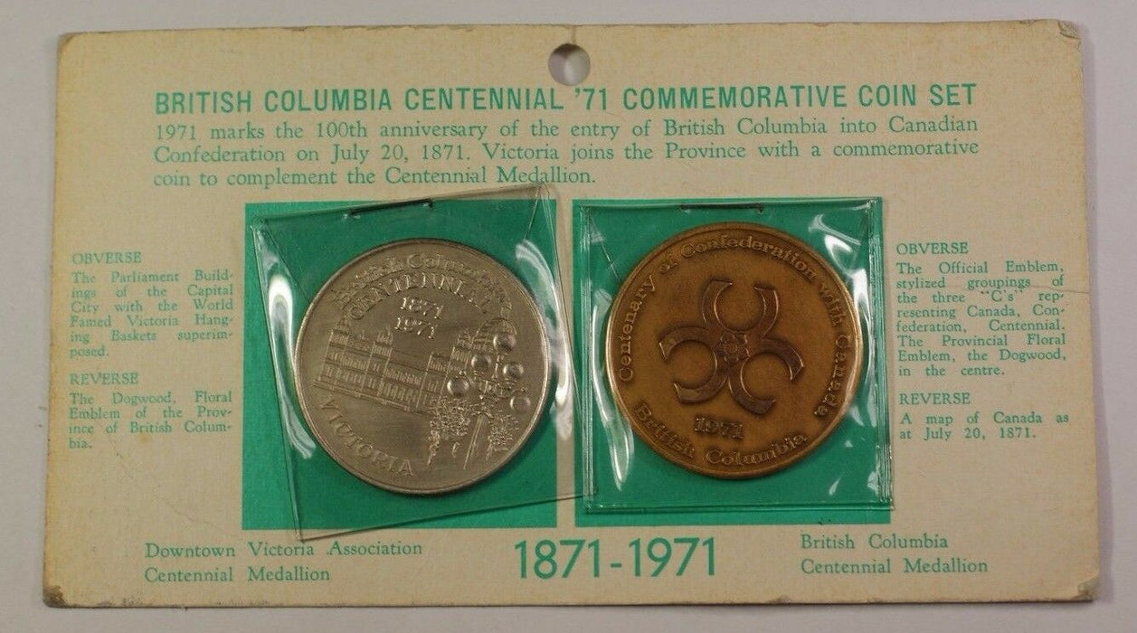 British Columbia BC Centennial '71 Commemorative 2 Coin Set