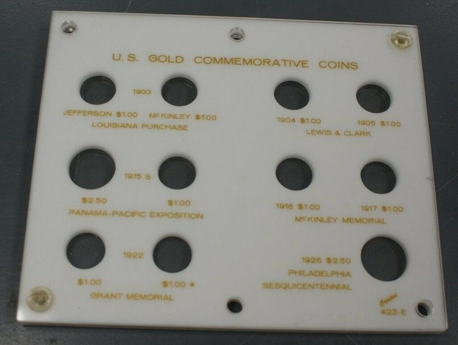 Capital Plastics White Coin Case US Gold Commemorative Coins 11 Slots Total (6)