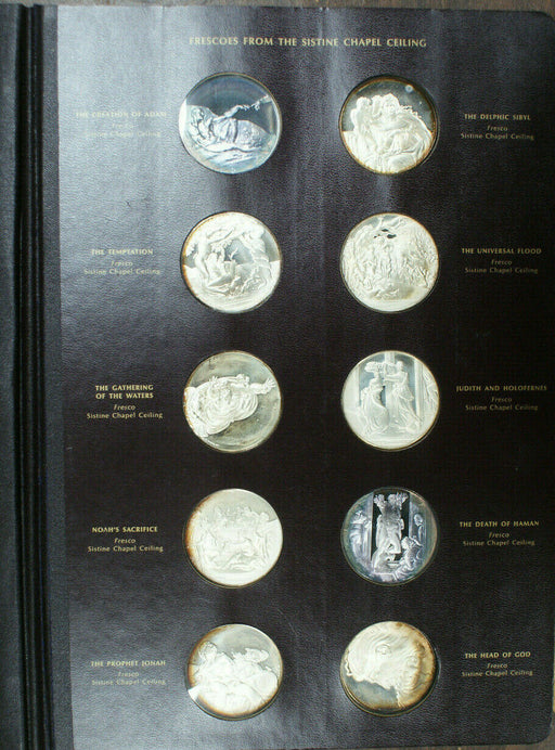 Franklin Mint Genius of Michelangelo 60 Proof Silver Medal Set