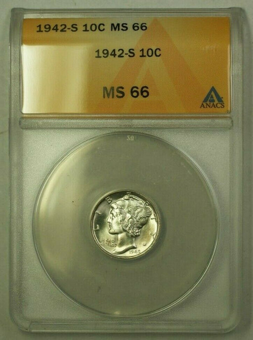 1942-S Silver Mercury Dime 10c ANACS MS-66 *Nearly Full Bands* (B) (WW)