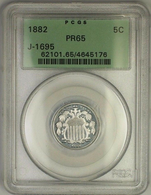 1882 Shield Nickel Pattern Gem Proof Coin PCGS PR-65 OGH J-1695 Judd WW