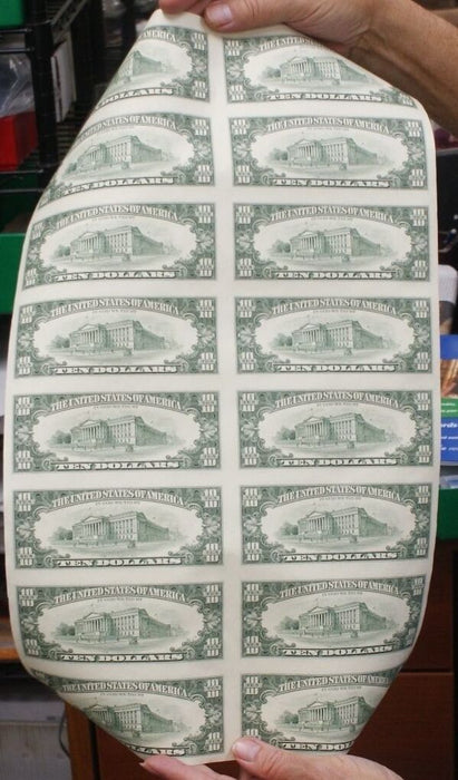 1995 16 Subject Uncut $10 FRN Sheet *F-Star* fw Federal Reserve Notes