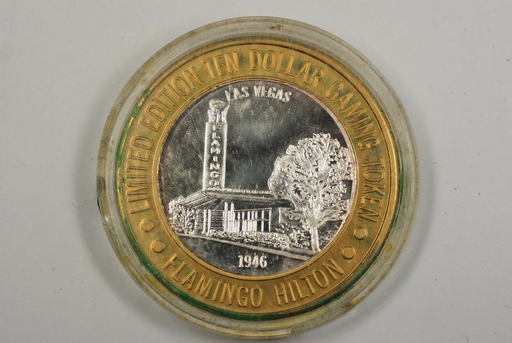Flamingo Hilton 1946 Las Vegas Limited Edition Ten Dollar Silver Gaming Token