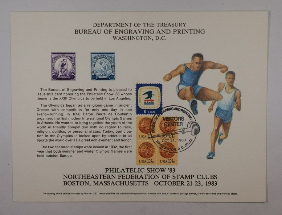 BEP souvenir card B 62 1983 Phil Show 1932 Olympics Visitors cancel