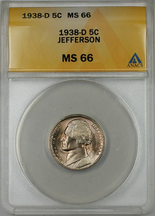 1938-D Jefferson Nickel Coin 5C ANACS MS 66 A