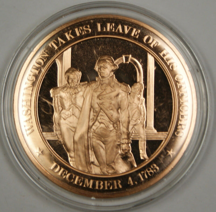 Bronze Proof Medal Washington Takes Leave of His Officers December 4 1783
