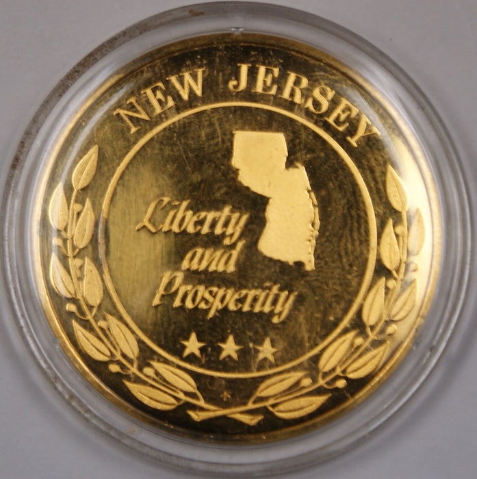Gold Plated Sterling Silver Proof Medal New Jersey Liberty and Prosperity