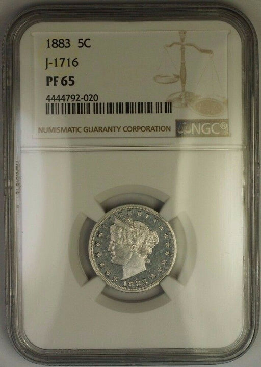 1883 Liberty Nickel Pattern Gem Proof 5c Coin NGC PF-65 J-1716 Judd WW