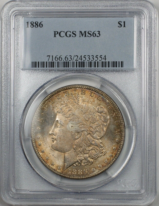 1886 Morgan Silver Dollar $1 Coin PCGS MS-63 Toned (BR-19 R)