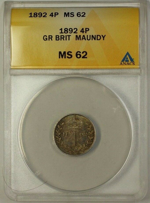 1892 Great Britain Groat Four Pence 4P Maundy Silver Coin ANACS MS-62