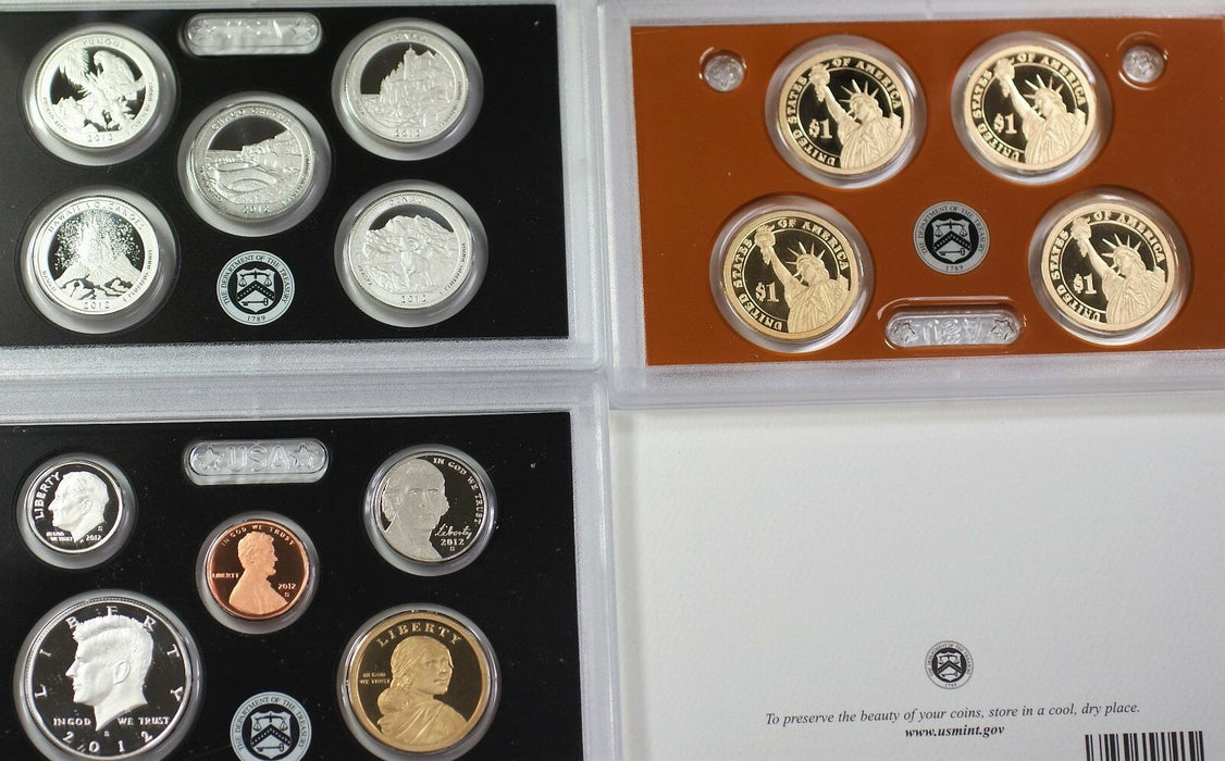 2012 US Mint Silver Proof Set Gem Coins With Box and COA