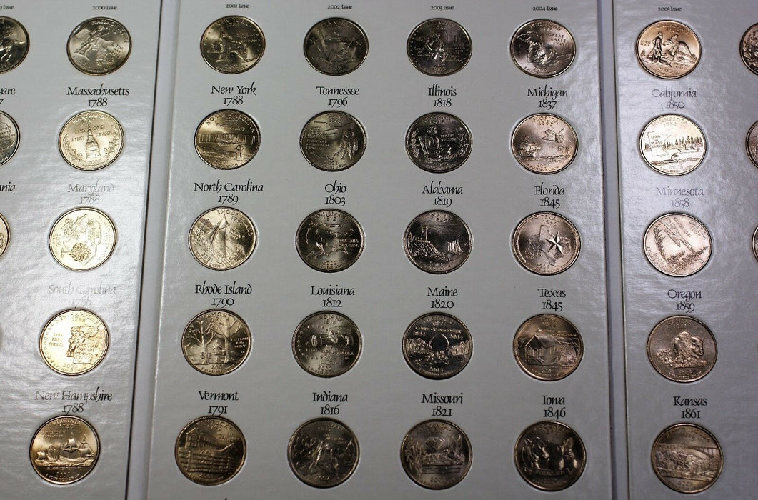 1999-2008 United States Quarters Complete Panavu Album 50 Coin Collection