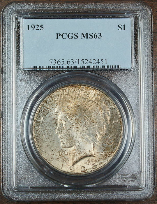 1925 Peace Silver Dollar Coin, PCGS MS-63, Toned!