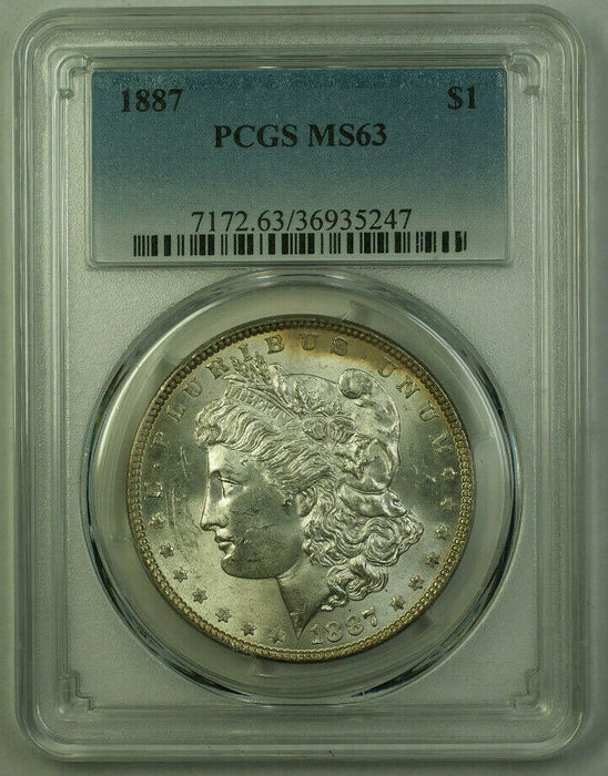 1887 Morgan Silver Dollar $1 Coin PCGS MS-63 Lightly Toned Reverse (20) (V)