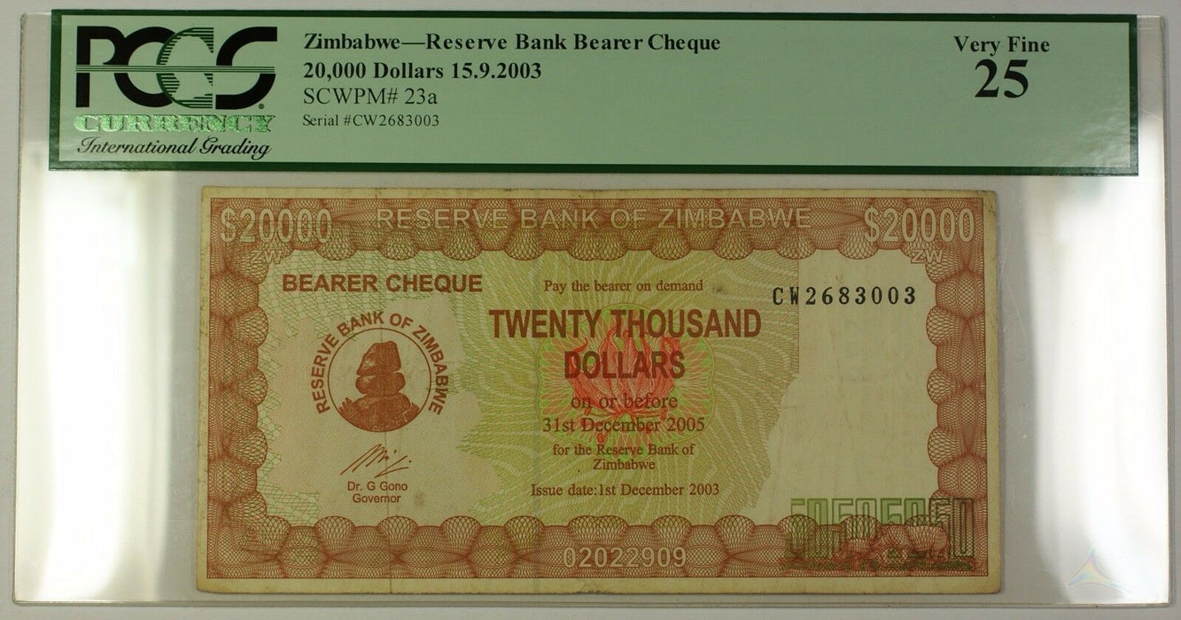 15.9.2003 Zimbabwe Reserve Bank Bearer Cheque $20,000 Note SCWPM# 23a PCGS VF-25