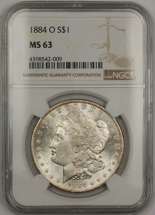 1884-O Morgan Silver Dollar $1 Coin NGC MS-63 (13a)